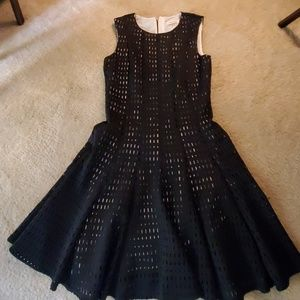 Calvin Klein Black Eyelet Sleeveless Dress Sz 4